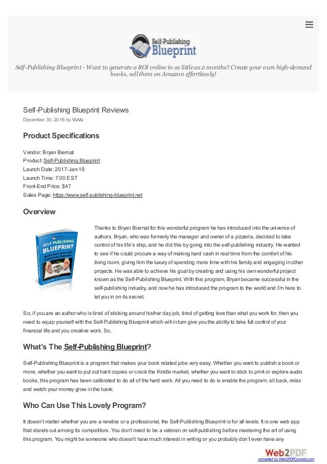 Self publishing blueprint reviews self publishing blueprint reviews december 30 2016 by vuvu product specifications vendor bryan malvernweather Images