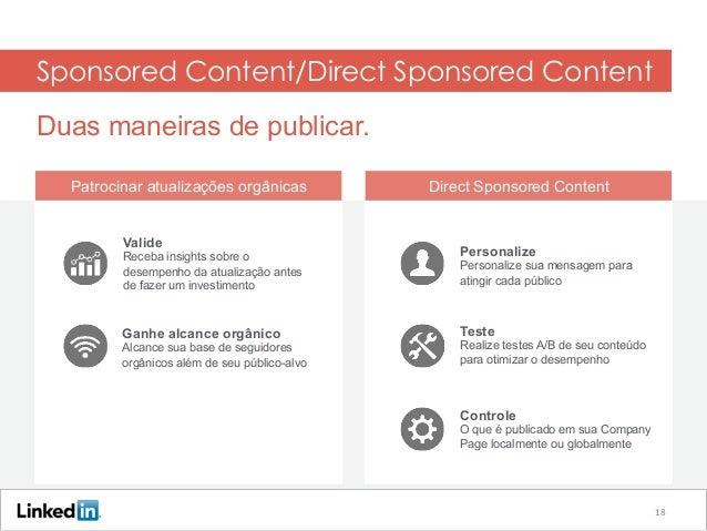 Sponsored Content/Direct Sponsored Content Duas maneiras de publicar. Patrocinar atualizações orgânicas Direct Sponsored C...