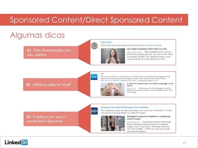 """01 Fale diretamente com seu público 02 Utilize a palavra """"você"""" 03 Explique por que o conteúdo é relevante Sponsored Conte..."""