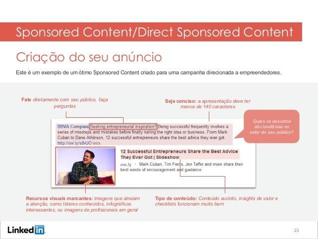 Text Ads Criação do seu anúncio Este é um exemplo de um ótimo Sponsored Content criado para uma campanha direcionada a emp...