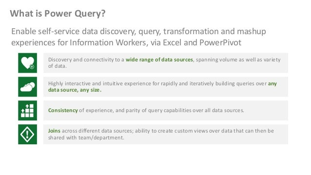 What is Power Query? Discover, combine, and refine Big Data, small data, and any data! • An Excel add-in for Excel 2010 an...