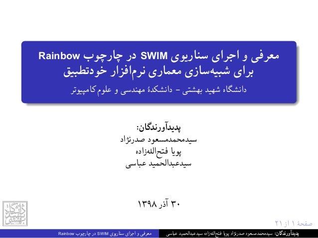 ٢١ از ١ ﺻﻔﺤﮥ Rainbow ﭼﺎرﭼﻮب در SWIM ﺳﻨﺎرﯾﻮی اﺟﺮای و ﻣﻌﺮﻓﯽ ﺧﻮدﺗﻄﺒﯿﻖ اﻓﺰارﻧﺮم ﻣﻌﻤﺎری ﺳﺎزیﺷﺒﯿﻪ ﺑ...