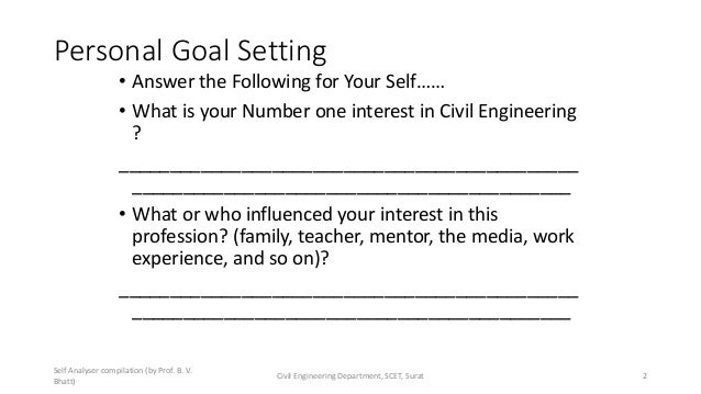 Personal Goal Setting • Answer the Following for Your Self…… • What is your Number one interest in Civil Engineering ? ___...