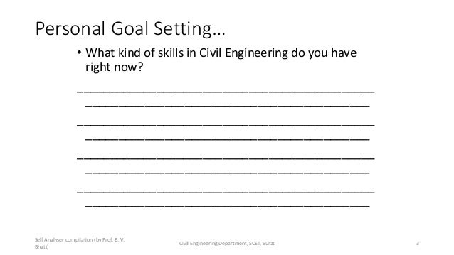 Personal Goal Setting… • What kind of skills in Civil Engineering do you have right now? _________________________________...