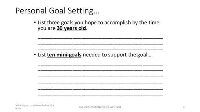 Personal Goal Setting… • List three goals you hope to accomplish by the time you are 30 years old. _______________________...