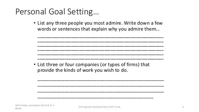 Personal Goal Setting… • List any three people you most admire. Write down a few words or sentences that explain why you a...