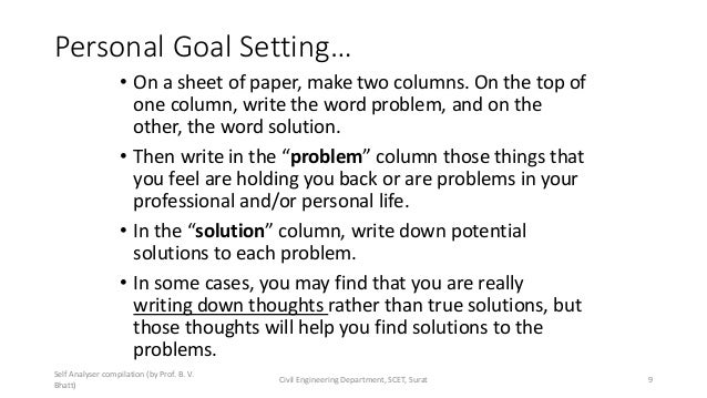 Personal Goal Setting… • On a sheet of paper, make two columns. On the top of one column, write the word problem, and on t...
