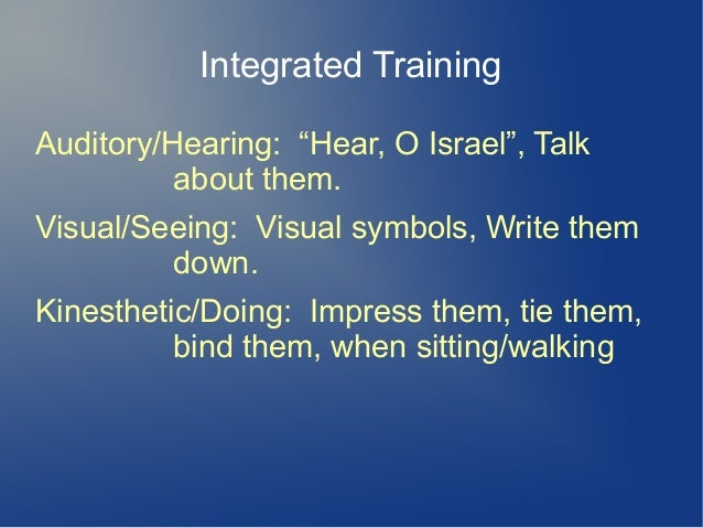 """Integrated Training Auditory/Hearing: """"Hear, O Israel"""", Talk about them. Visual/Seeing: Visual symbols, Write them down. K..."""
