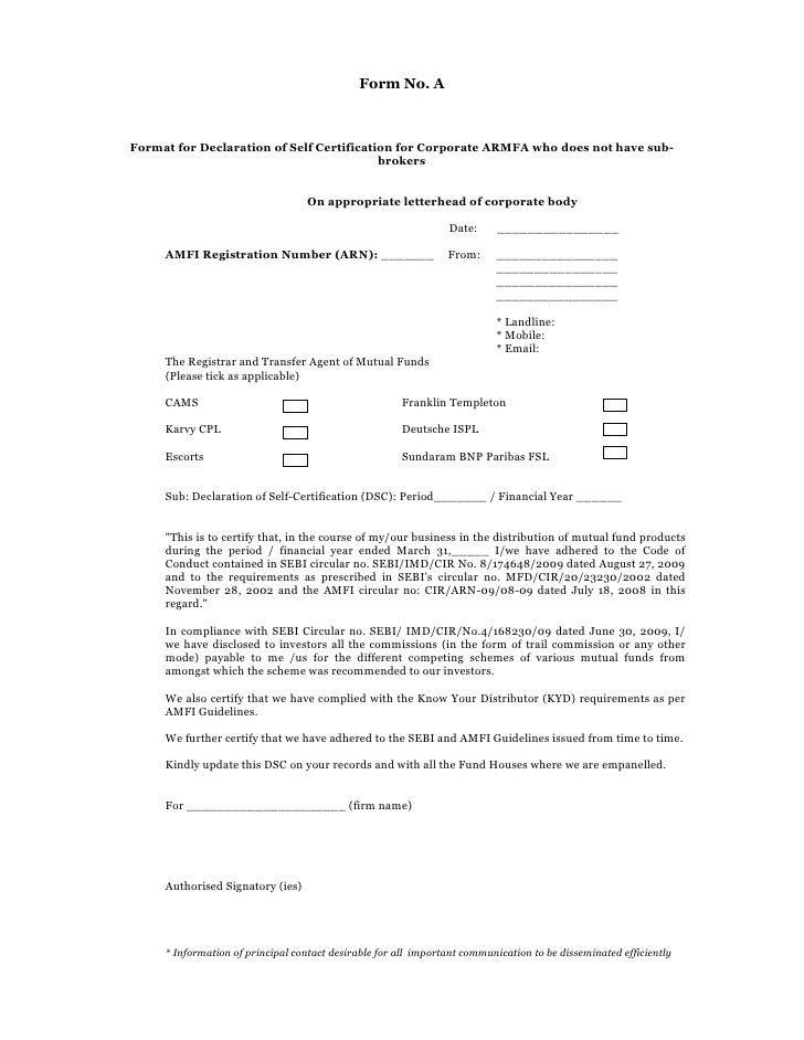 Form No. AFormat For Declaration Of Self Certification For Corporate ARMFA  Who Does Not Have ...