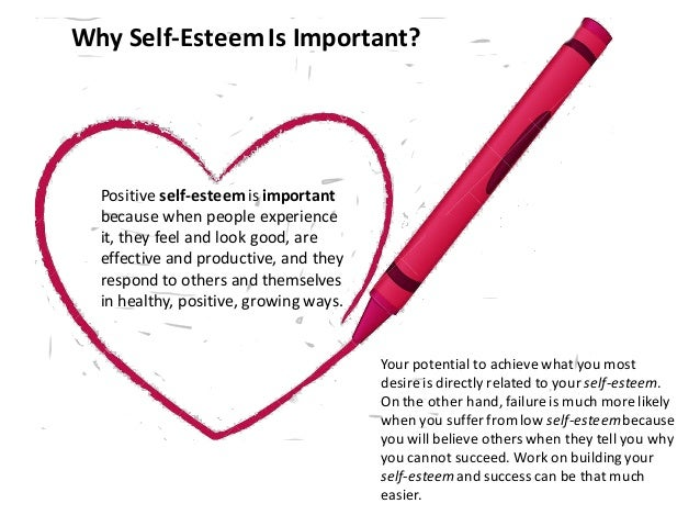 Why Self-EsteemIs Important? Your potential to achieve what you most desire is directly related to your self-esteem. On th...