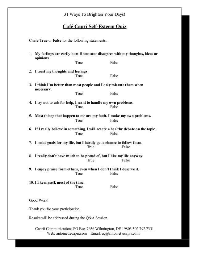 image relating to Self Esteem Quiz Printable known as Self esteem quiz restaurant capri