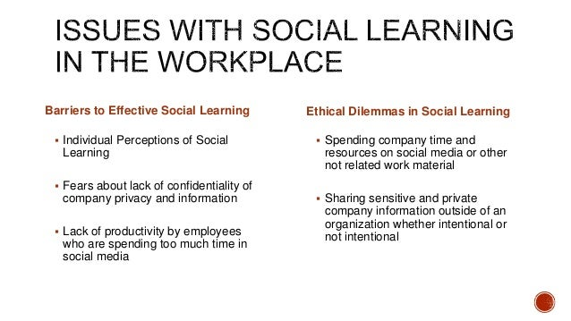  Individual Perceptions of Social Learning  Fears about lack of confidentiality of company privacy and information  Lac...