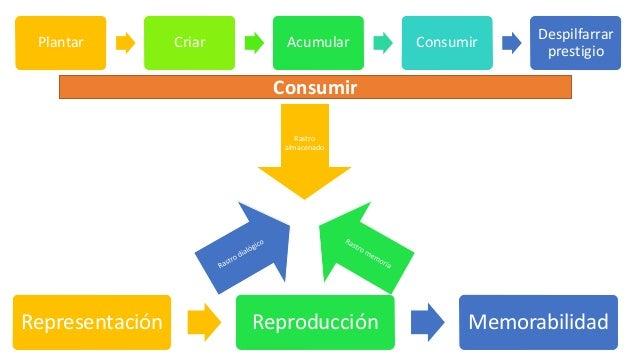 Plantar Criar Acumular Consumir Despilfarrar prestigio Consumir Rastro almacenado Representación Reproducción Memorabilidad