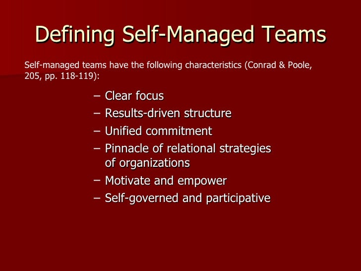self managed teams challenges She is the facilitator for one of your company's recently formed self-managed work teams  to successfully survive these challenges and achieve self.