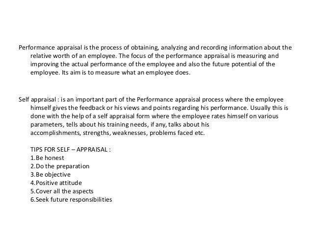 Self performance appraisal sample