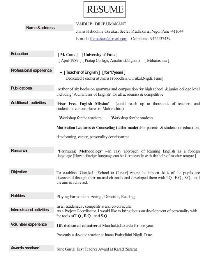 RESUME                                       VAIDLIP DILIP UMAKANT          Name &address                                 ...