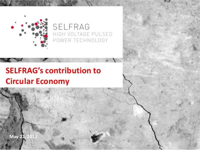 SELFRAG's contribution to Circular Economy May 21, 2013