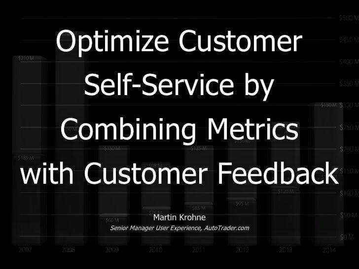 Optimize Customer     Self-Service by   Combining Metricswith Customer Feedback                    Martin Krohne      Seni...