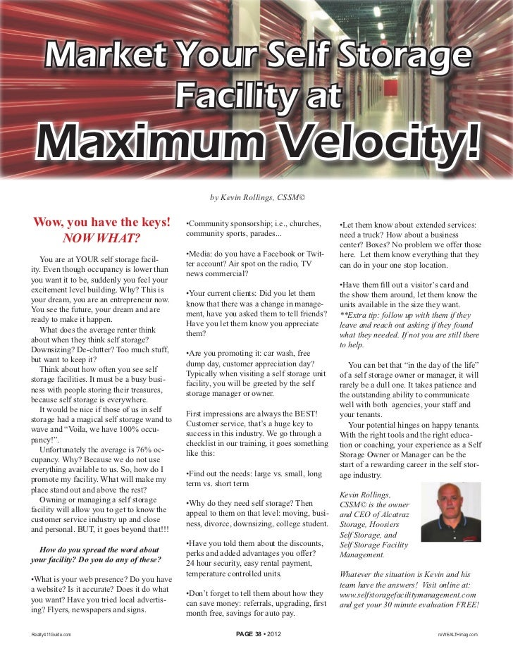 Market Your Self Storage            Facility at Maximum Velocity!                                                         ...