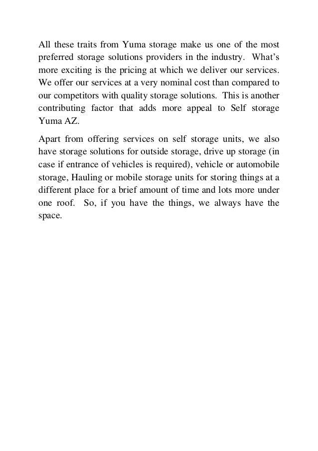 3. All these traits from Yuma storage ...  sc 1 st  SlideShare & Self Storage from Yuma az