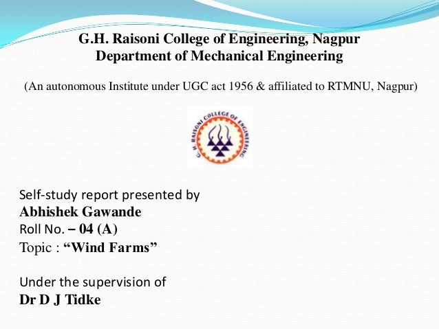 G.H. Raisoni College of Engineering, Nagpur Department of Mechanical Engineering (An autonomous Institute under UGC act 19...