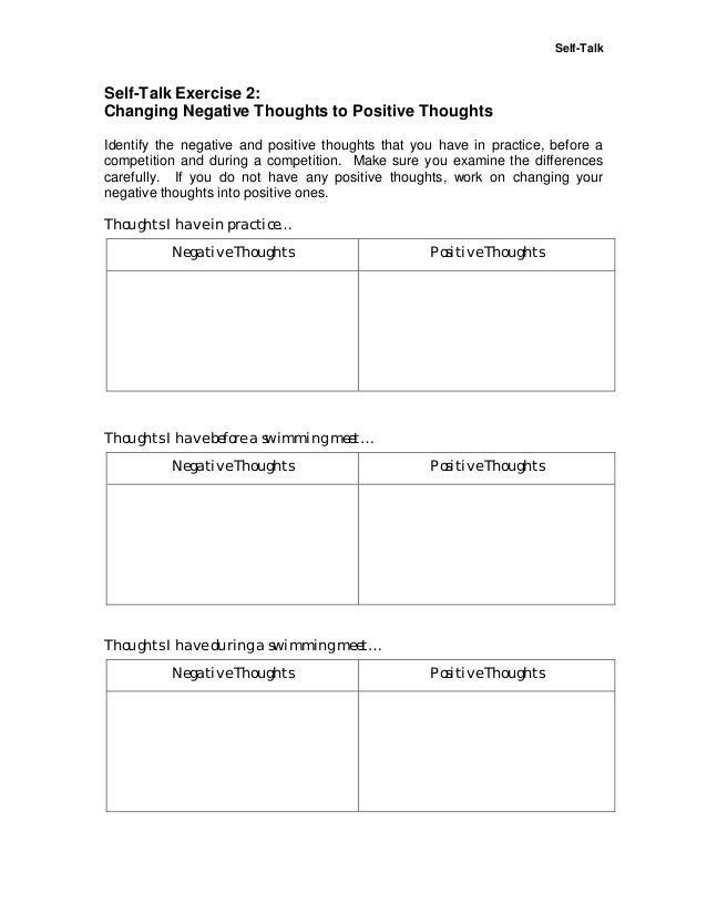 Positive Self-Talk Worksheets | Small Group Counseling TitleTheme ...