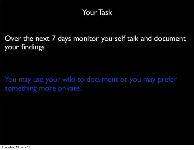 Your TaskOver the next 7 days monitor you self talk and documentyour findingsYou may use your wiki to document or you may p...