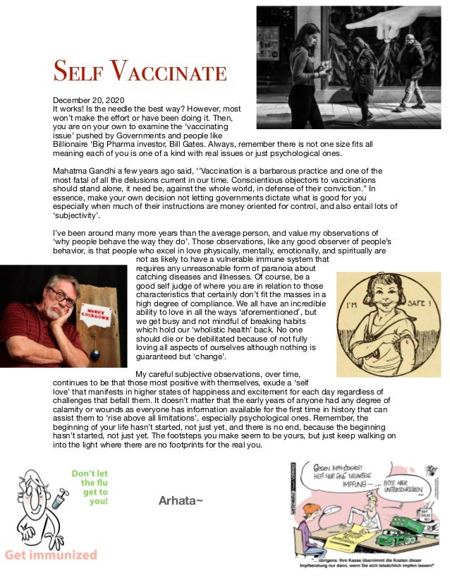 Self Vaccinate   December 20, 2020  It works! Is the needle the best way? However, most won't make the effort or have been ...