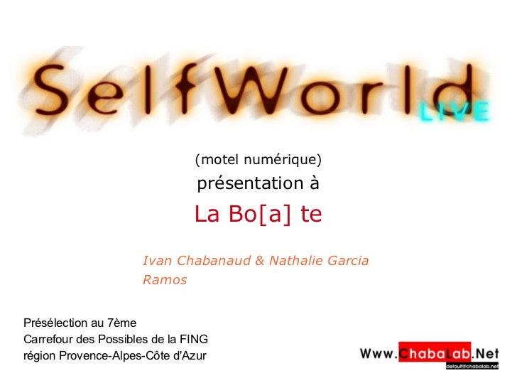 (motel numérique) présentation à La Bo[a] te Ivan Chabanaud & Nathalie Garcia Ramos Présélection au 7ème Carrefour des Po...