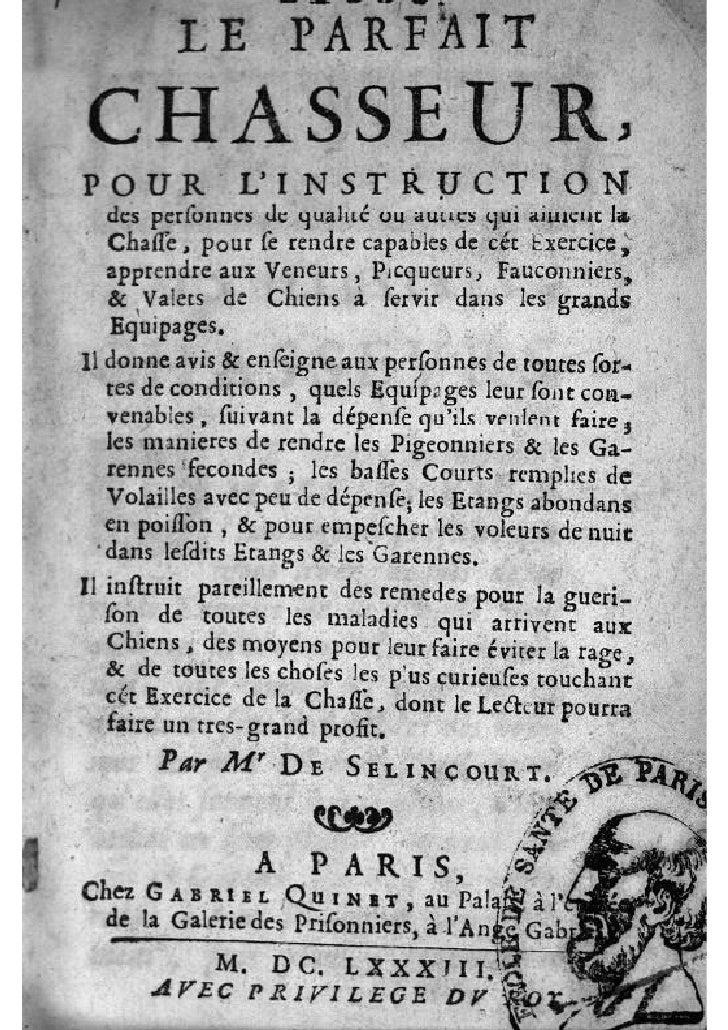 Selincourt le parfait chasseur (1683)