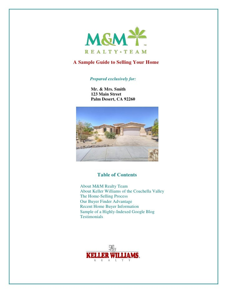 A Sample Guide to Selling Your Home       Prepared exclusively for:       Mr. & Mrs. Smith       123 Main Street       Pal...