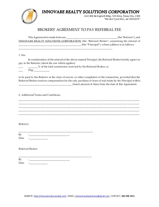 Seller Referral Agreement