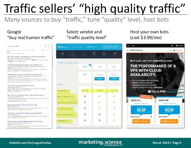 "March 2019 / Page 0marketing.scienceconsulting group, inc. linkedin.com/in/augustinefou Traffic sellers' ""high quality tra..."