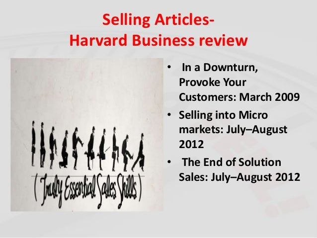 Selling Articles from Harvard Business Review