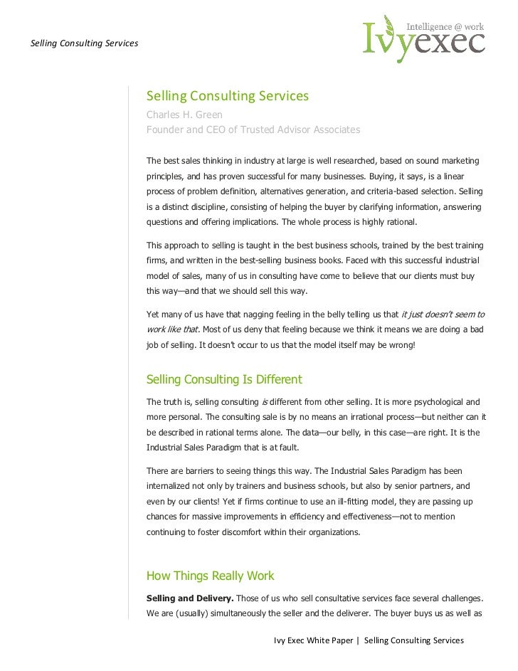 Selling Consulting Services