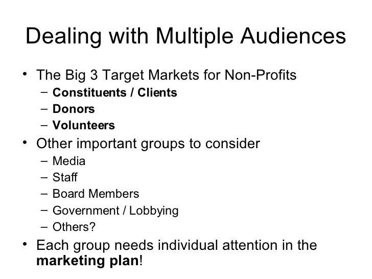 Dealing with Multiple Audiences <ul><li>The Big 3 Target Markets for Non-Profits </li></ul><ul><ul><li>Constituents / Clie...