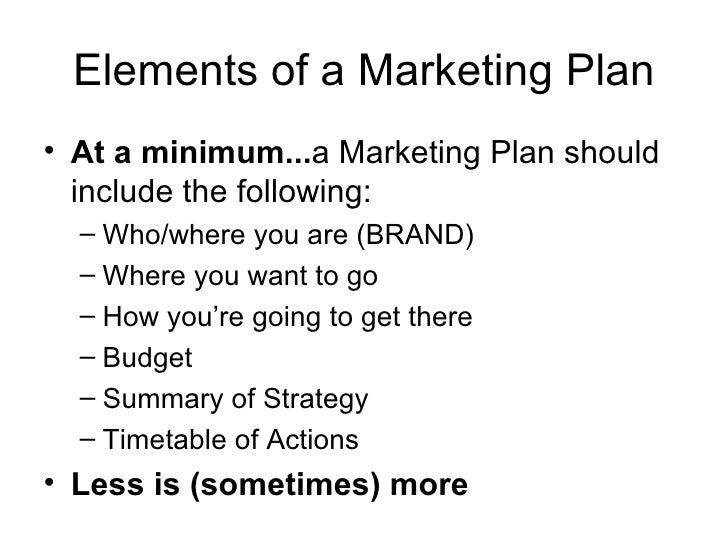 Elements of a Marketing Plan <ul><li>At a minimum... a Marketing Plan should include the following: </li></ul><ul><ul><li>...