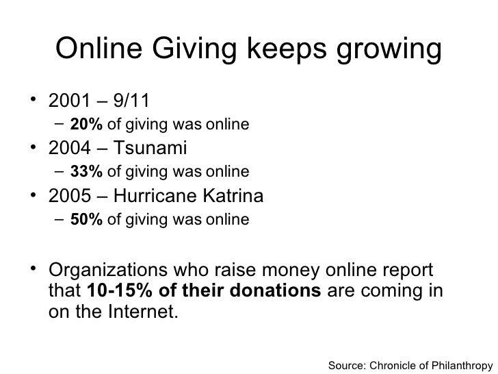 Online Giving keeps growing <ul><li>2001 – 9/11 </li></ul><ul><ul><li>20%  of giving was online </li></ul></ul><ul><li>200...