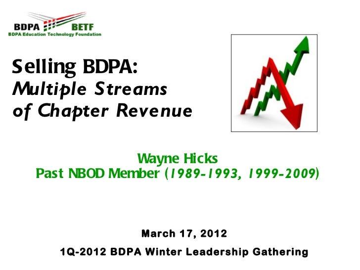 Selling BDPA:Multiple Streamsof Chapter Revenue               Wayne Hicks  Past NBOD Member (1989-1993, 1999-2009)        ...