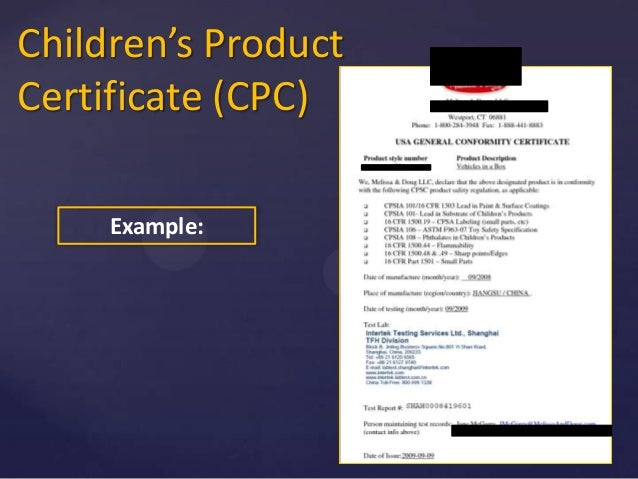 Product Conformity Certificate Sample Gallery