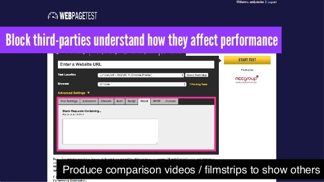 Block third-parties understand how they affect performance Produce comparison videos / filmstrips to show others