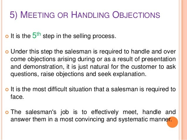 handling objections in selling process