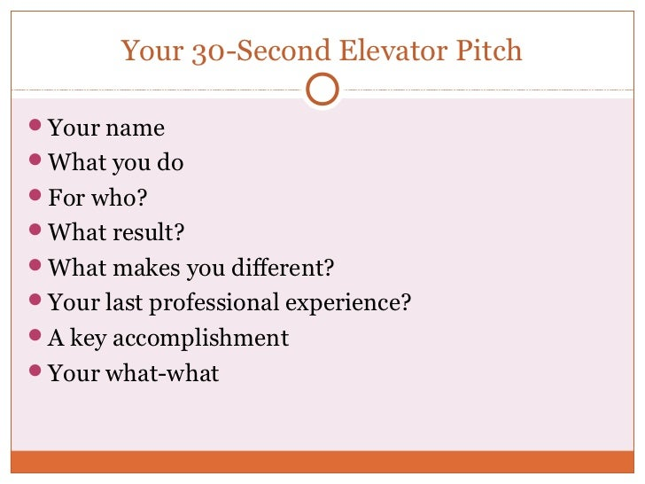 Your 30-Second Elevator PitchYour nameWhat you doFor who?What result?What makes you different?Your last professional...