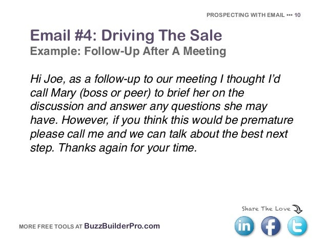 PROSPECTING WITH EMAIL U2022u2022u2022 9; 11.  Follow Up Email After Phone Call