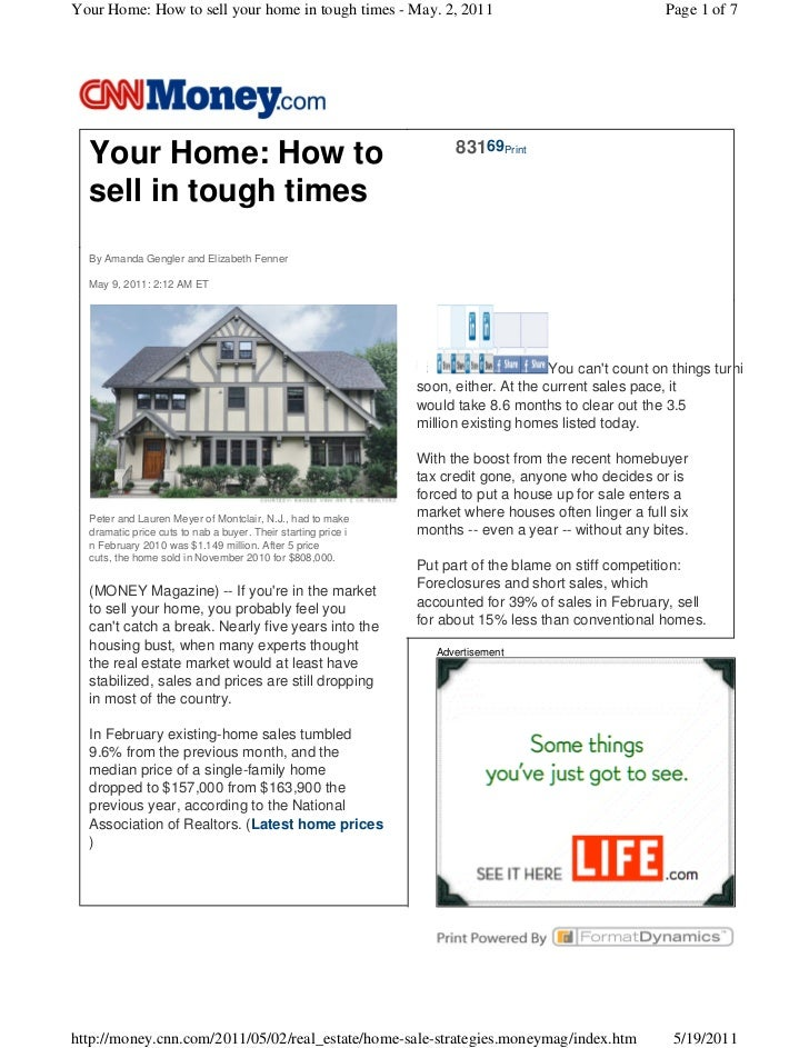 Your Home: How to sell your home in tough times - May. 2, 2011                                         Page 1 of 7        ...