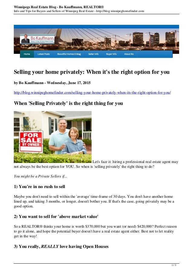 Winnipegs Real Estate Blog - Bo Kauffmann, REALTOR® Info and Tips for Buyers and Sellers of Winnipeg Real Estate - http://...