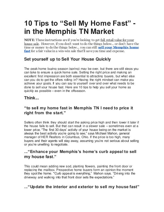10 tips to sell my home fast in the memphis tn market 10 tips to sell my home fast in the memphis tn market note solutioingenieria Image collections