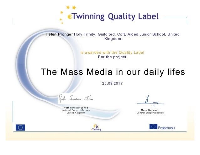 Helen Pronger Holy Trinity, Guildford, CofE Aided Junior School, United Kingdom is awarded with the Quality Label For the ...