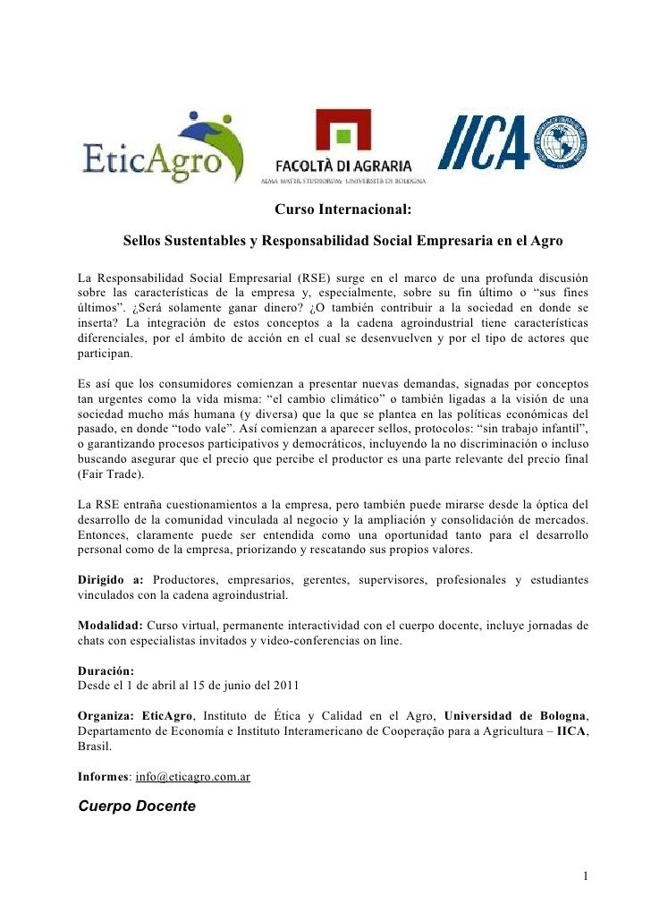 Curso Internacional:        Sellos Sustentables y Responsabilidad Social Empresaria en el AgroLa Responsabilidad Social Em...