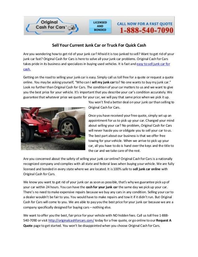Sell Your Junk Car For Quick Cash Originalcashforcars Magnificent Cash For Junk Cars Online Quote